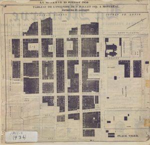1852-2: Tableau de l'incendie du 8 juillet 1852 à Montréal. -15 juillet 1852 Archives  de  Montréal. Collection  Cartes et plans de la  Ville de Montréal, CA M001 VM066-4-P028